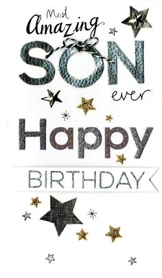 Son Birthday Luxury Champagne Greeting Card