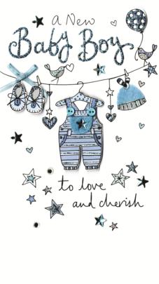 Beautiful New Baby Boy Luxury Champagne Greeting Card