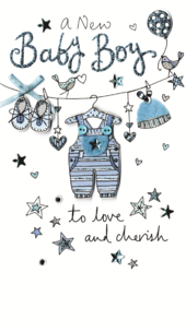 Beautiful New Baby Boy Luxury Champagne Greeting Card