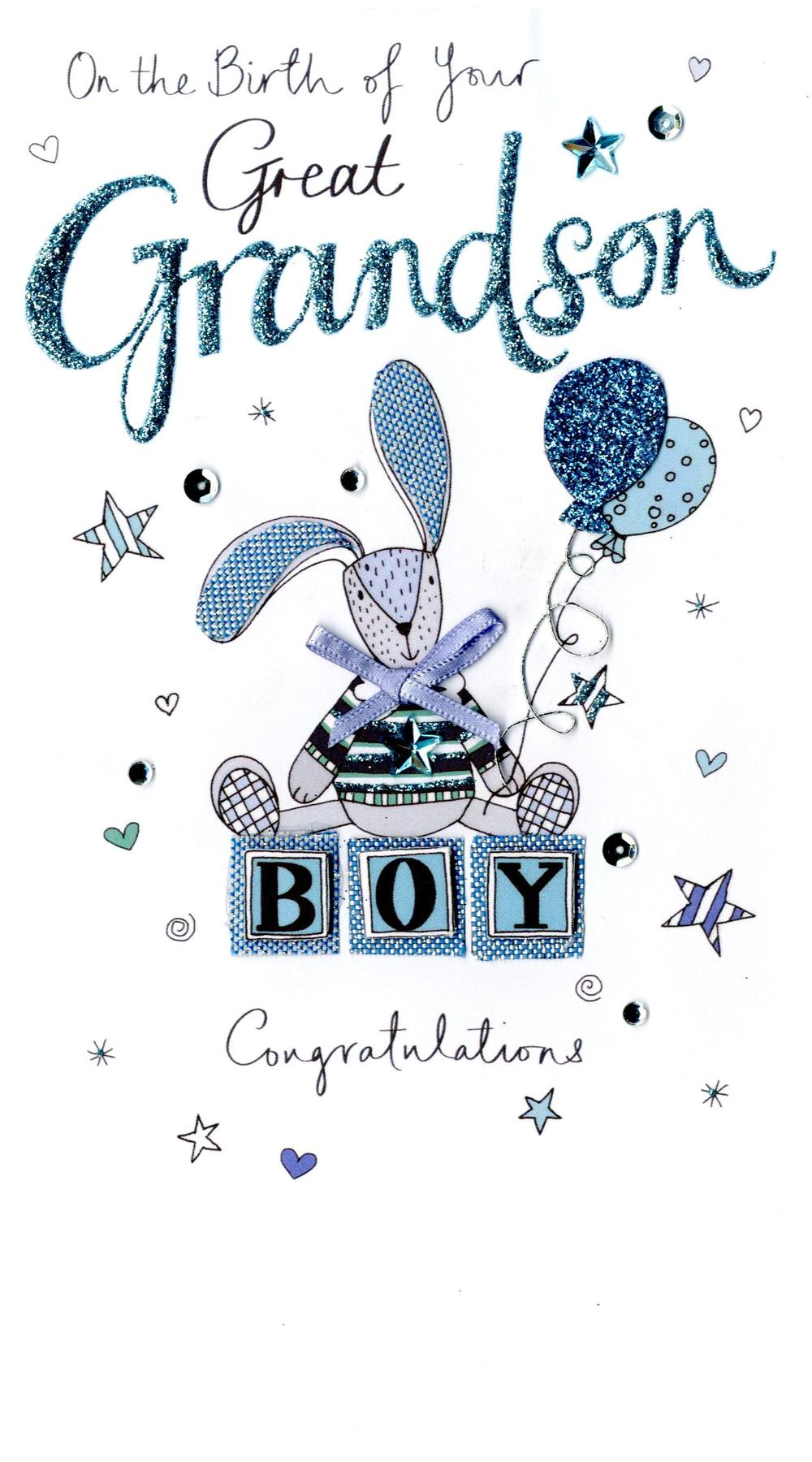 New Baby Great Grandson Luxury Champagne Greeting Card