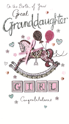 New Baby Great Granddaughter Luxury Champagne Greeting Card