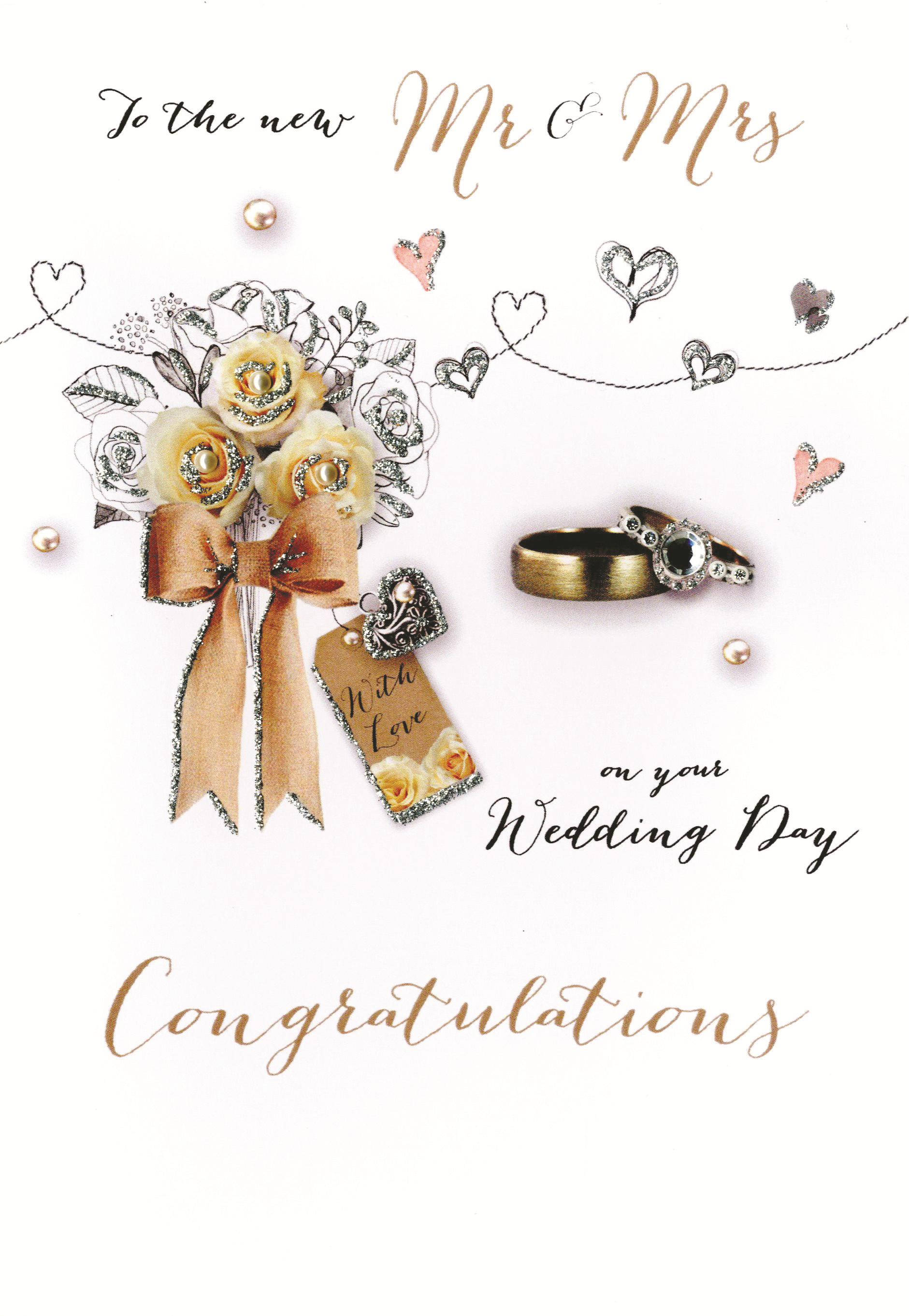 Mr Mrs Wedding Congratulations Embellished Greeting Card Cards