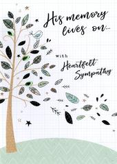 His Memory Lives On Sympathy Greeting Card