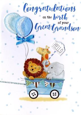New Baby Great-Grandson Greeting Card