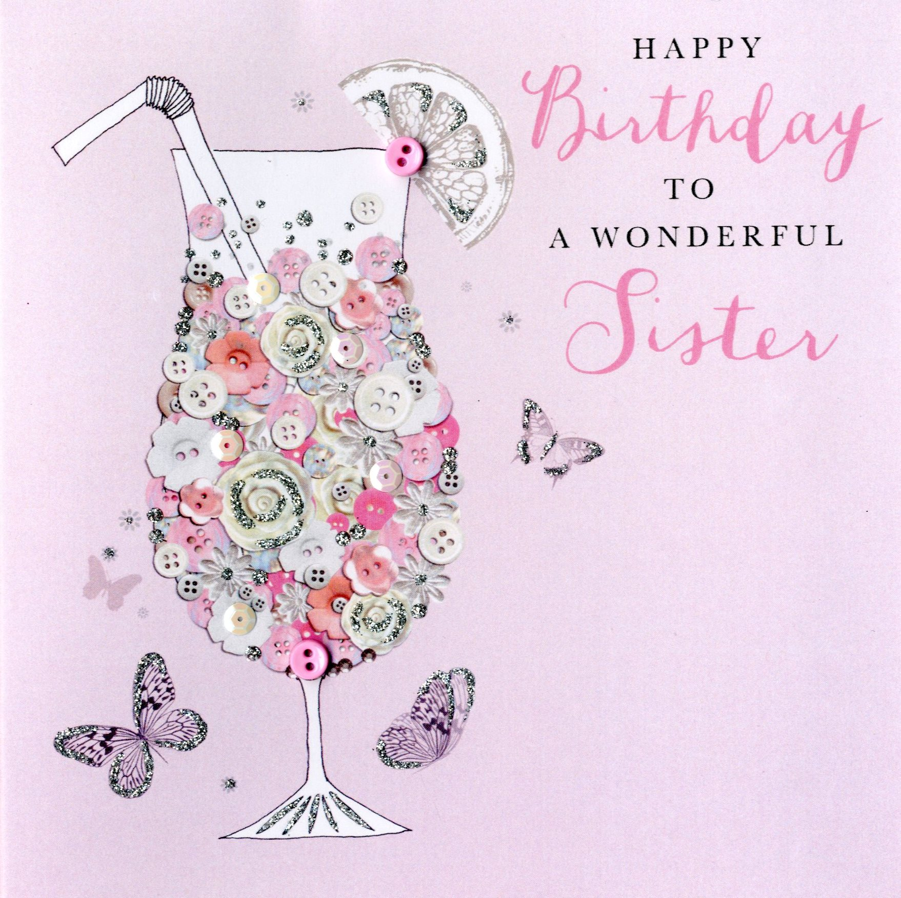 wonderful sister birthday buttoned up greeting card button