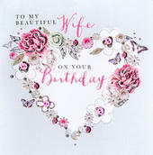 Beautiful Wife Birthday Buttoned Up Greeting Card