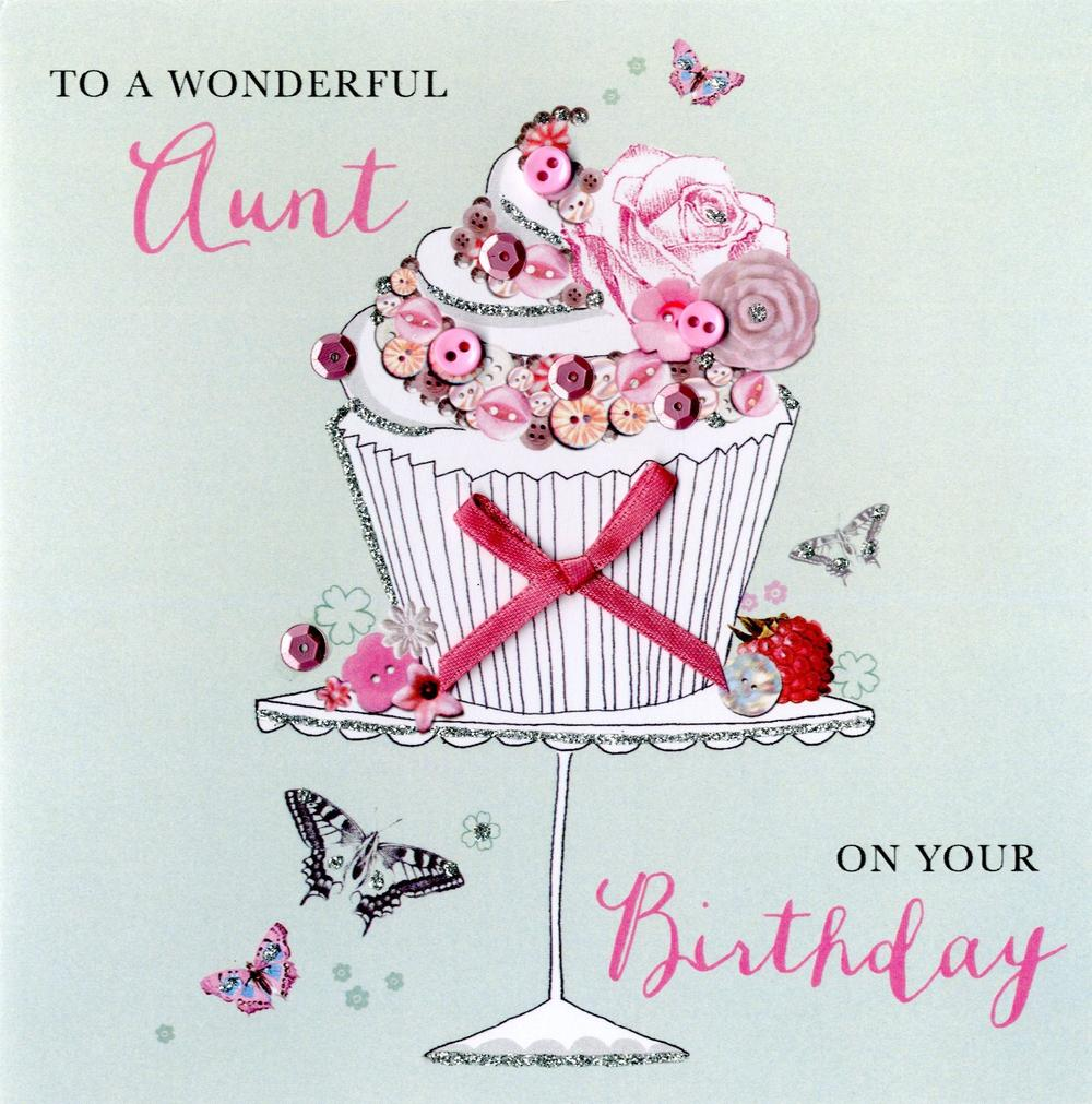 Wonderful Aunt Birthday Buttoned Up Greeting Card