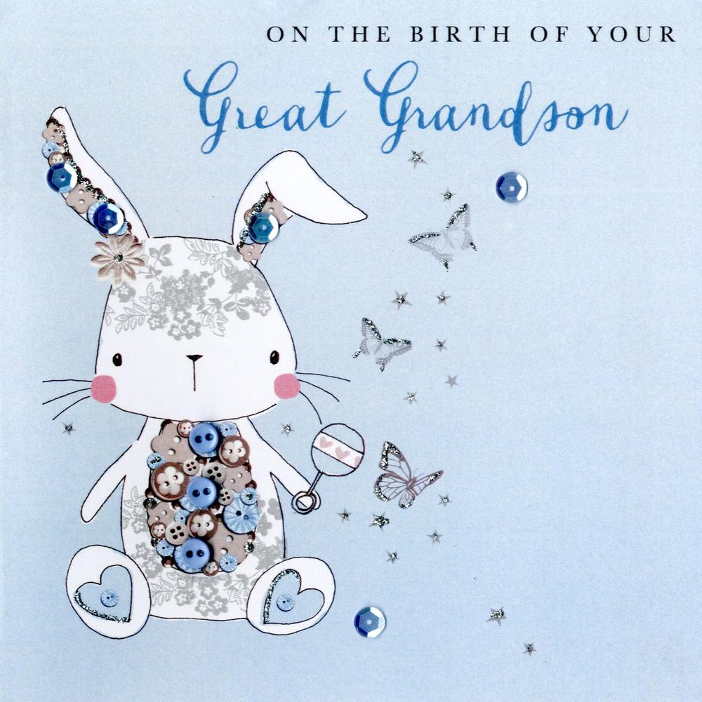 New Baby Great Grandson Buttoned Up Greeting Card