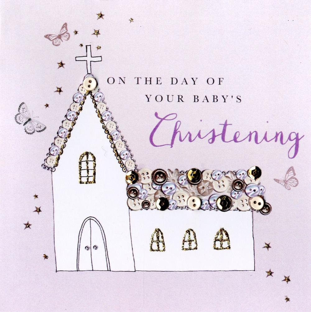 Baby's Christening Buttoned Up Greeting Card