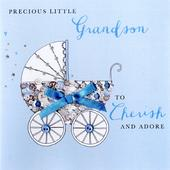 New Baby Grandson Buttoned Up Greeting Card