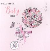 Beautiful Baby Girl Buttoned Up Greeting Card