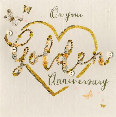 On Your Golden 50th Anniversary Buttoned Up Greeting Card