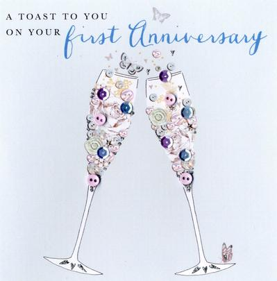 On Your 1st Anniversary Buttoned Up Greeting Card