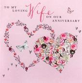Lovely Wife Anniversary Buttoned Up Greeting Card