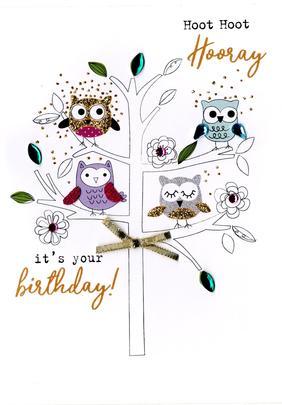Hoot Hoot Hooray Birthday Irresistible Greeting Card