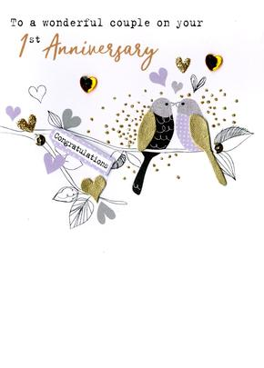 On Your 1st Anniversary With Love Irresistible Greeting Card