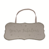 You're Fabulous All That Glitters Glass Hanging Plaque