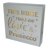 Home Runs On Love & Prosecco Silver Glass Mirror Light Up Box Wall Plaque