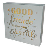 Good Friends Make You Sparkle Silver Glass Mirror Light Up Box Wall Plaque