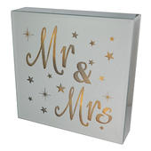 Mr & Mrs Silver Glass Mirror Light Up Box Wall Plaque