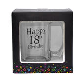 18th Birthday Celebrate In Style Glass Tankard In Gift Box