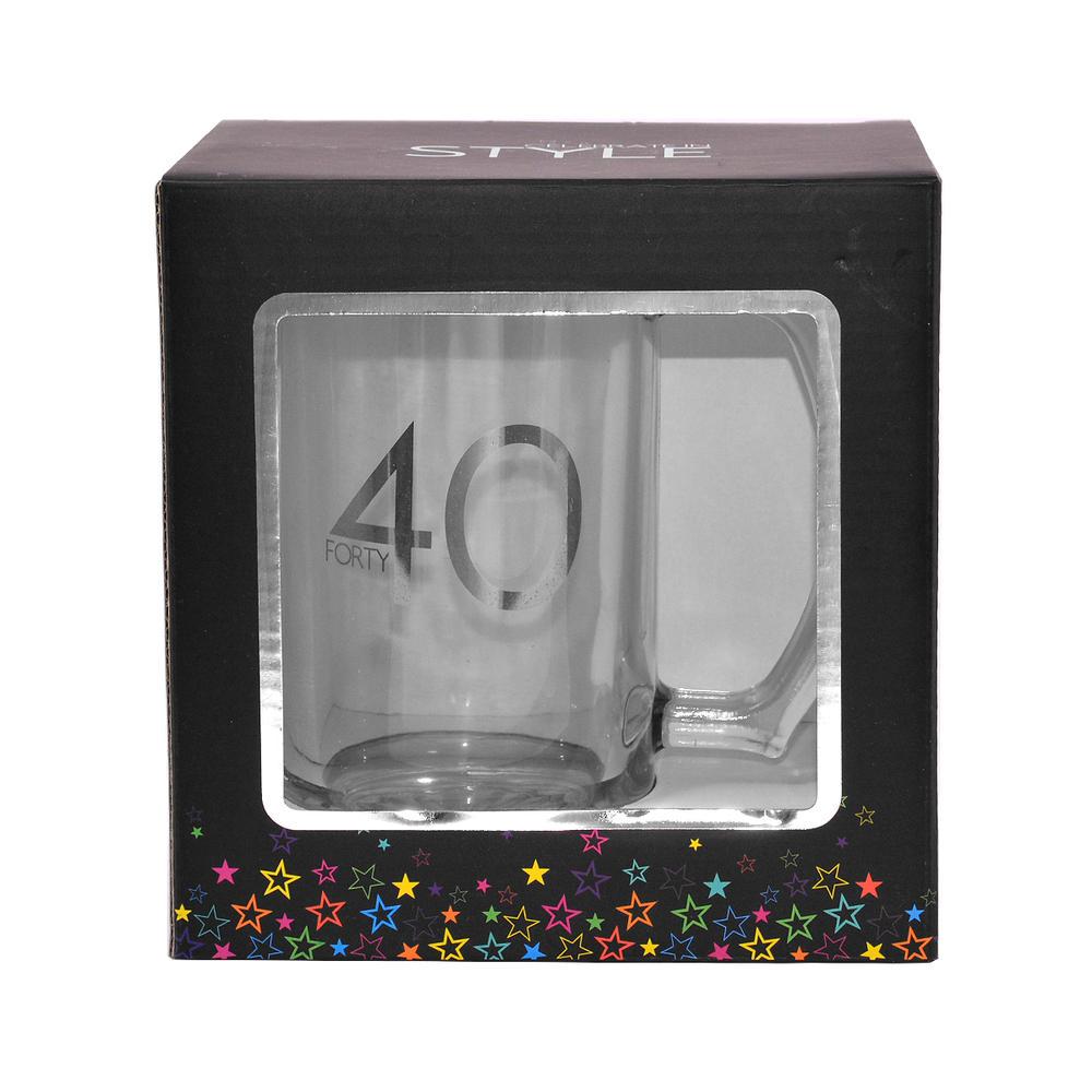 40th Birthday Celebrate In Style Glass Tankard In Gift Box