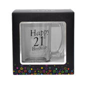 21st Birthday Celebrate In Style Glass Tankard In Gift Box
