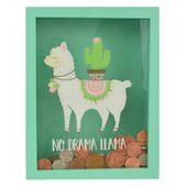 No Drama Llama Wooden Money Box With Glass Front