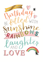 Sunshines Rainbows Birthday Greeting Card