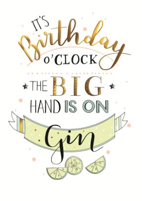 Gin O'Clock Birthday Greeting Card
