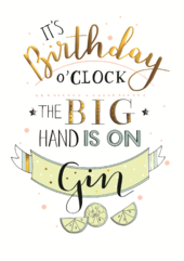 Gin O'Clock Birthday Greeting Card