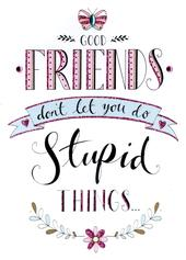 Good Friends Stupid Things Greeting Card