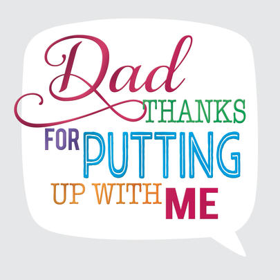 Thanks Dad Father's Day Square Script Greeting Card