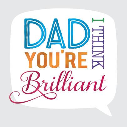 Brilliant Dad Father's Day Square Script Greeting Card