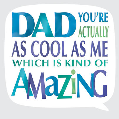 Cool Dad Father's Day Square Script Greeting Card