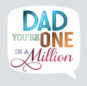 One In A Million Father's Day Square Script Greeting Card