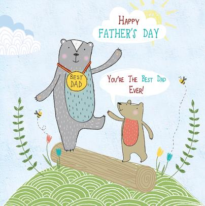 Happy Father's Day Forest Friends Greeting Card