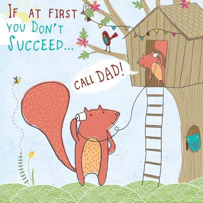 Call Dad Father's Day Forest Friends Greeting Card