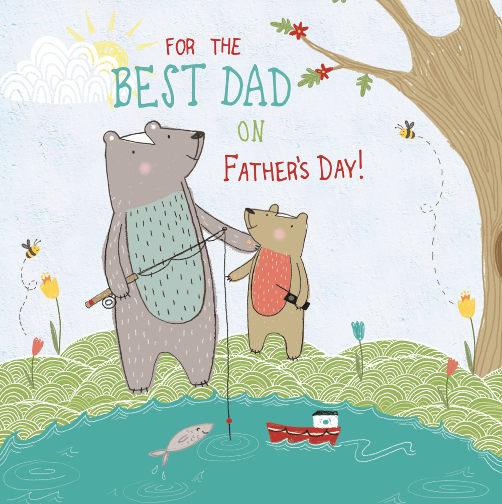 Best Dad Father's Day Forest Friends Greeting Card