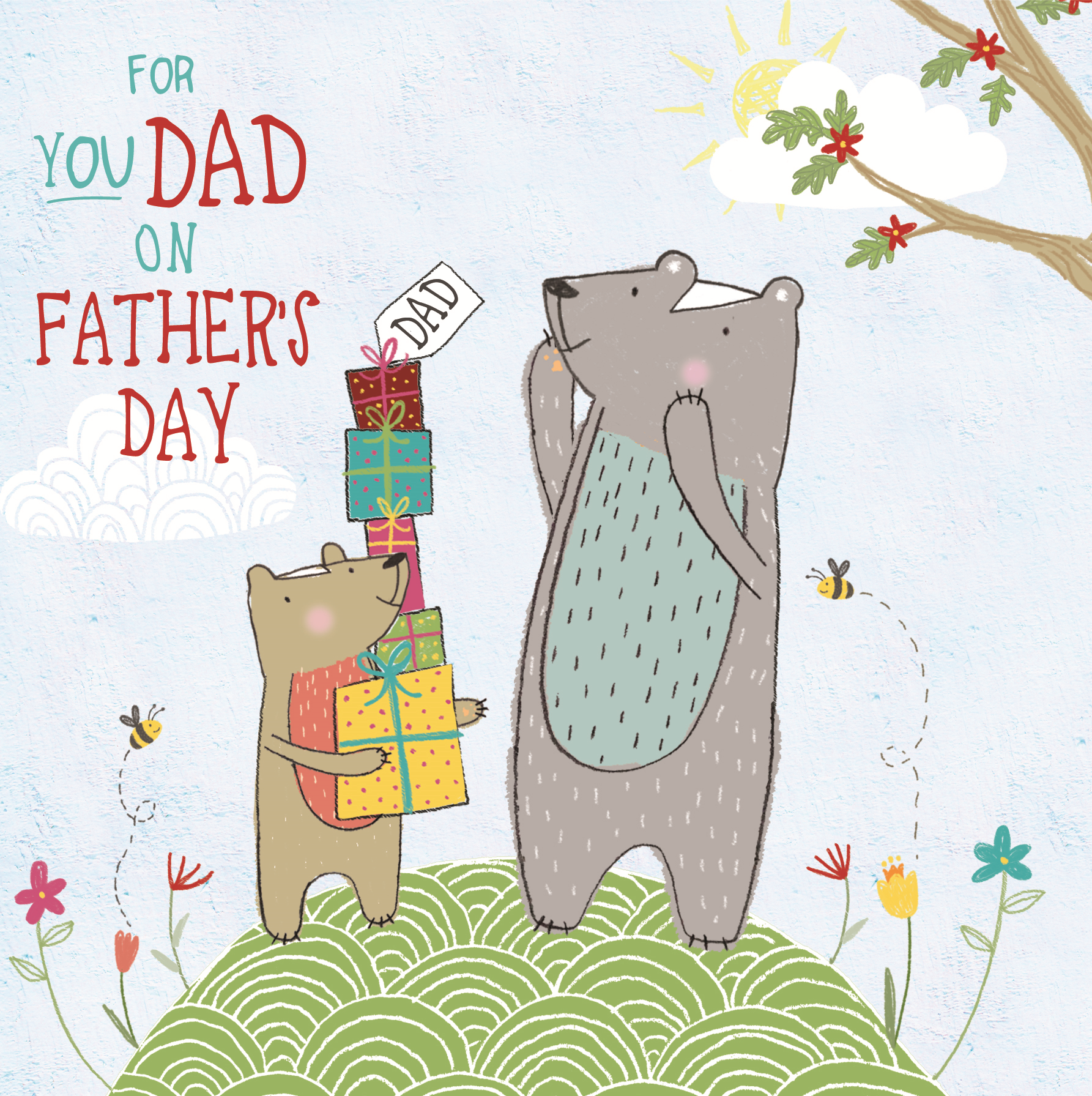 Thanks Dad Fathers Day Forest Friends Greeting Card Cute Bear