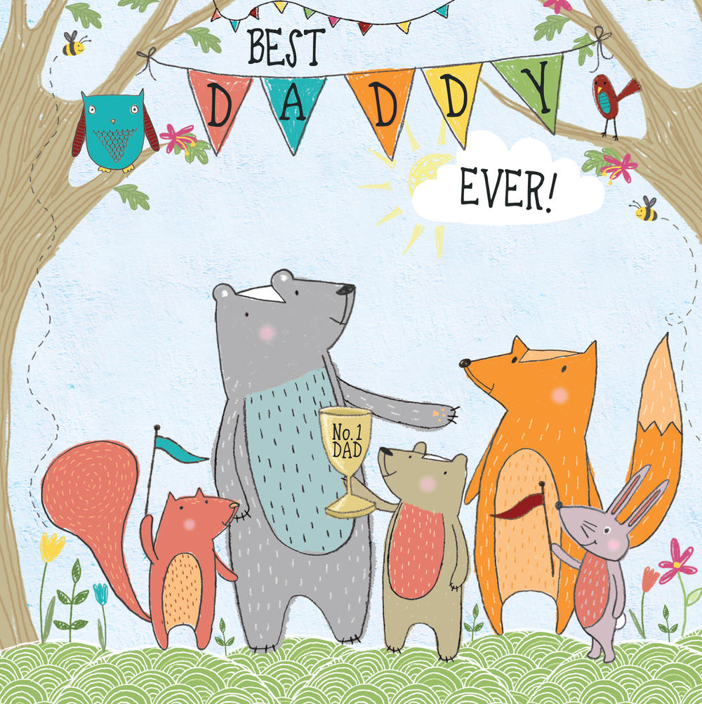 Best Daddy Father's Day Forest Friends Greeting Card