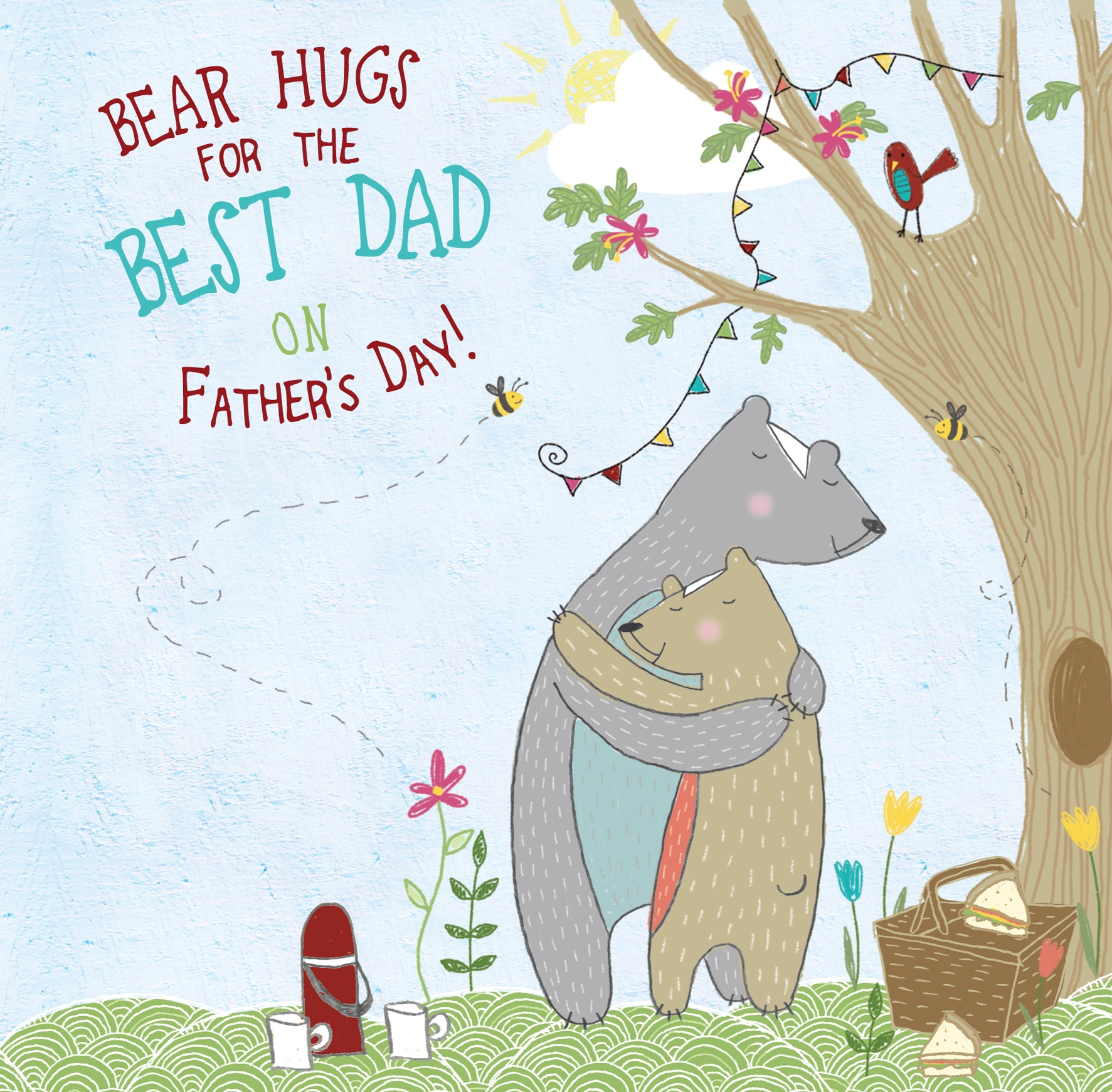 Bear Hugs Fathers Day Forest Friends Greeting Card Cute Bear