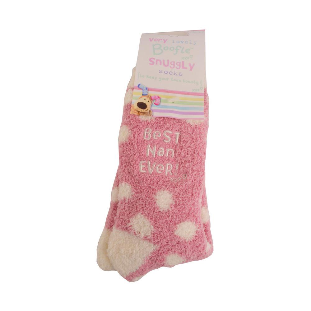Boofle Best Nan Ever Pair Fluffy Slipper Socks