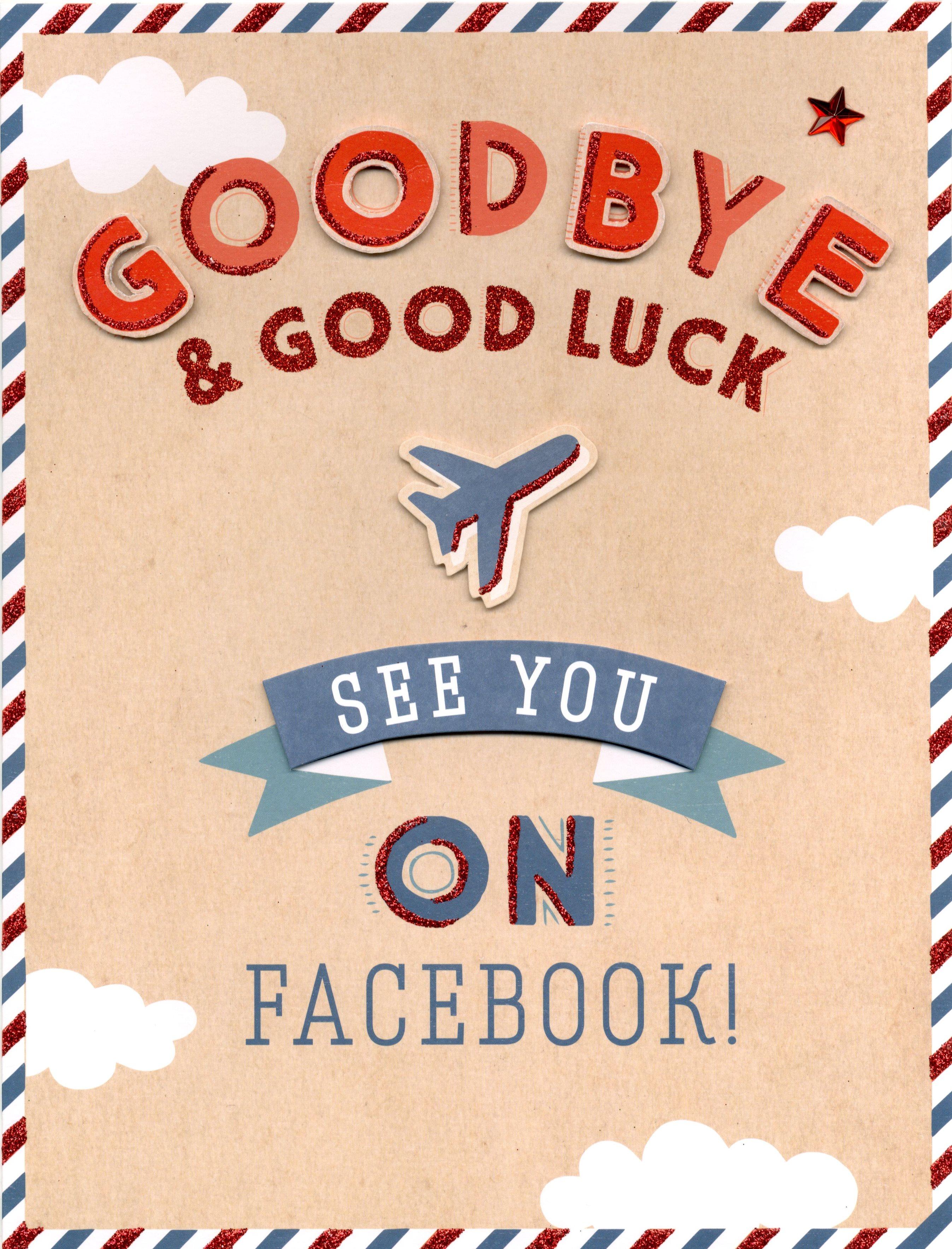 goodbye  good luck gigantic greeting card embellished