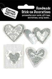 Silver Hearts DIY Greeting Card Toppers