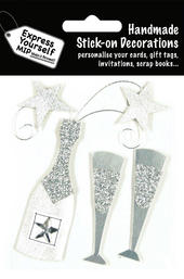 Silver Champagne Bottle DIY Greeting Card Toppers