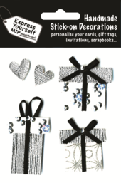 Silver Gift Boxes & Hearts DIY Greeting Card Toppers