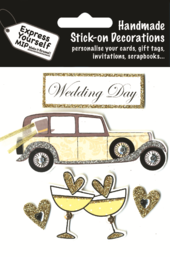 Wedding Day Vintage Car DIY Greeting Card Toppers