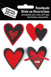 Red & Black Hearts DIY Greeting Card Toppers
