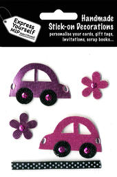 Pink Cars & Flowers DIY Greeting Card Toppers